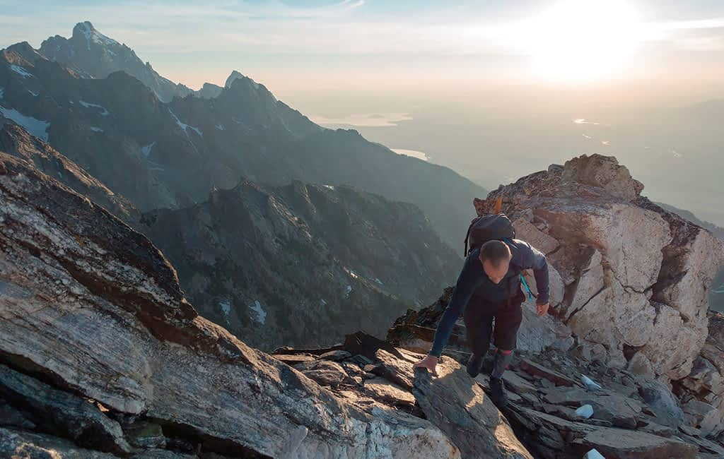 Greszko scrambles across a ridgeline on Buck Mountain, the final summit in his Triple Buck Picnic.