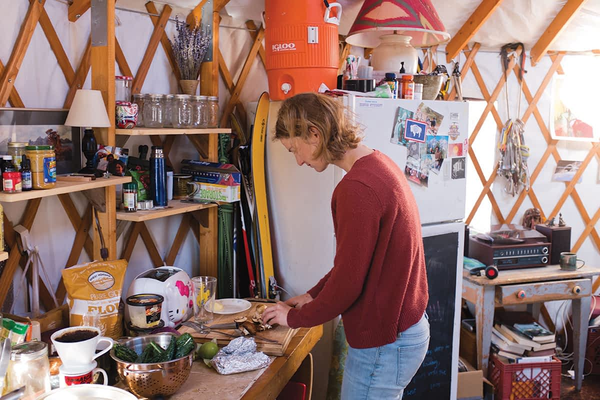 None of the yurts in the Kelly Yurt Park have running water, but residents have no problem dealing with it. Notice the large Igloo cooler in Peter Popinchalk and Ellen Yeatman's kitchen.