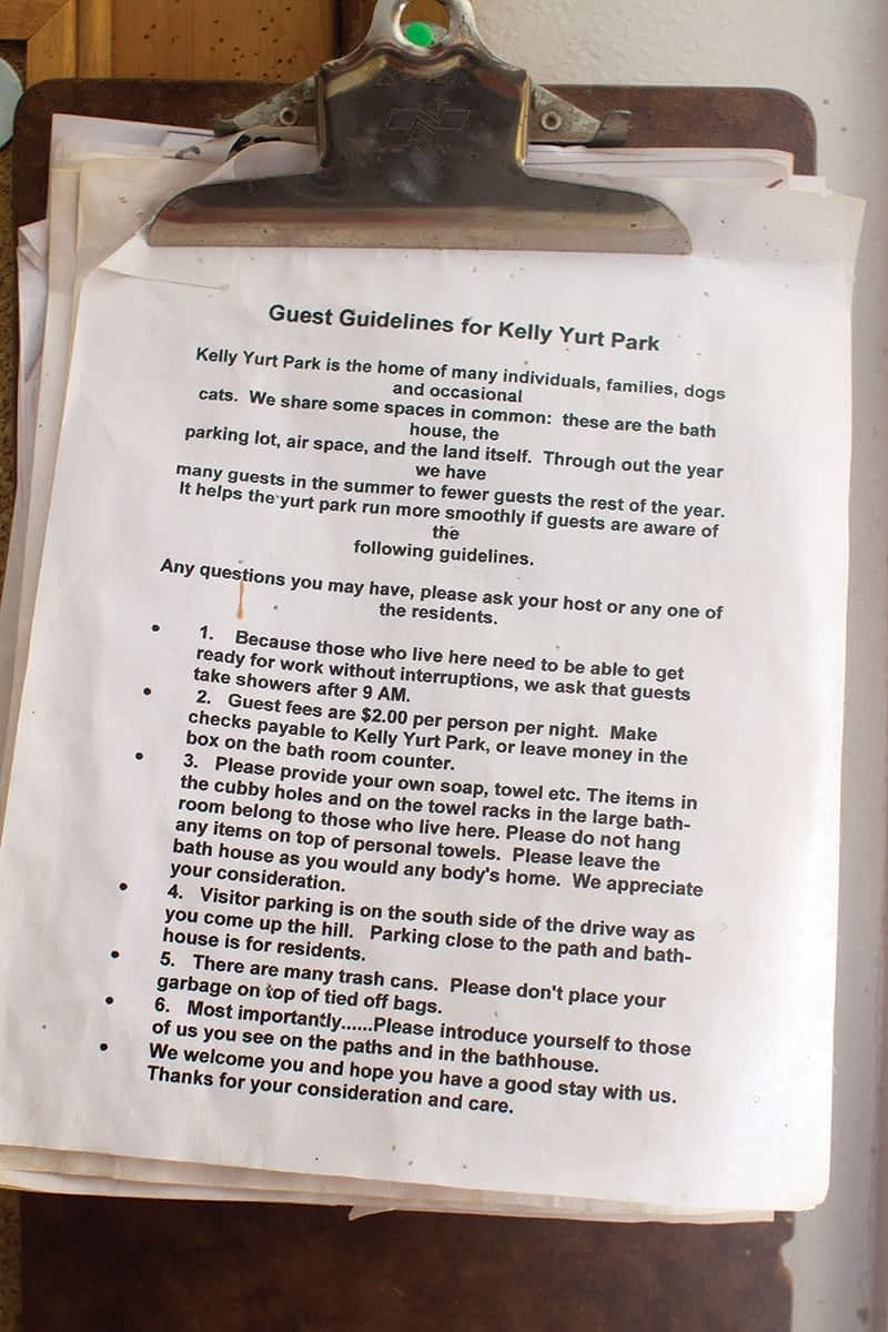 Guests are welcome at the Kelly Yurt Park, but must live by the rules.