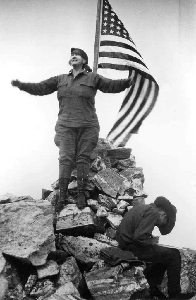 Guided by Paul Petzoldt, Geraldine Lucas, a retired schoolteacher and local homesteader, reached the summit of the Grand Teton in 1924. She was the second woman to accomplish the climb; Eleanor Davis did it one year earlier.