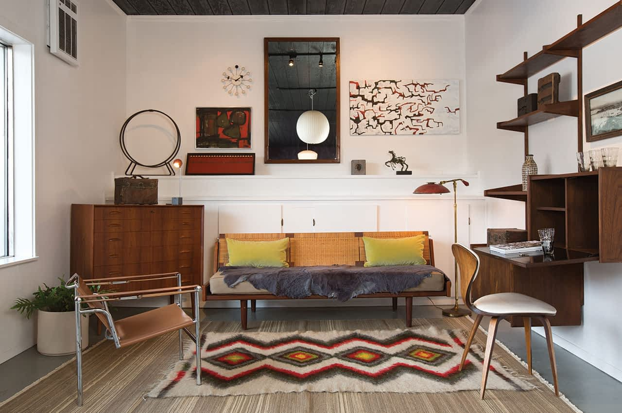 In an unassuming building in West Jackson you'll find the state's best collection of mid-century modern pieces. Matterhouse's inventory is always changing, but pictured here are a Hans Wegner daybed, a circa-1960 Norwegian teak wall unit, a Le Corbusier LC1 chair, George Nelson bubble lamps, and a Johannes Sorth for Nexo Denmark dresser.
