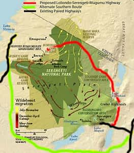 Migration Map with proposed highway, Serengeti