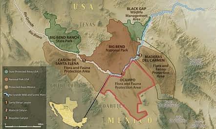 Map of El Carmen - Big Bend Region