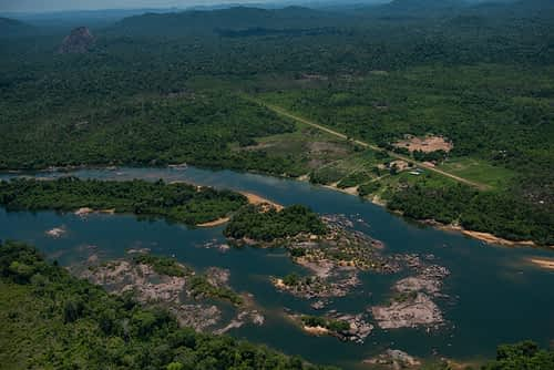 Aerial view of protected Amazonian rainforest in the Kayapo territory near the village of Kendjam. Kayapo Territory, Brazil.