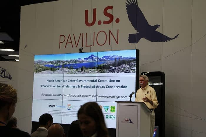 National Park Service Director, Jon Jarvis, at the 2016 World Conservation Congress in Hawaii.