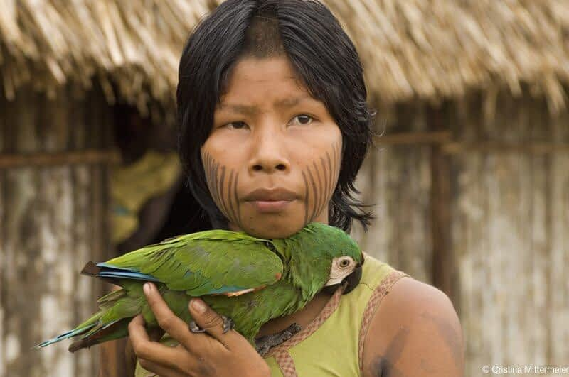 Girl with a green parot (Kayapó, Pará, Brazil, March 2006)