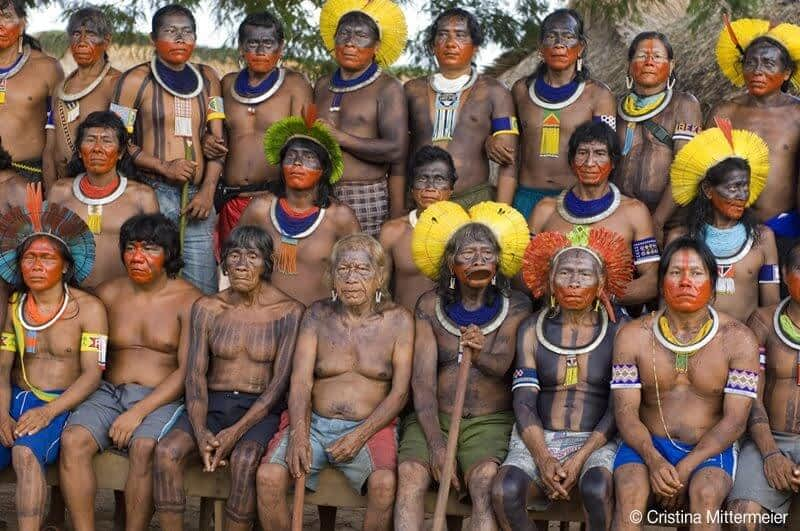 Group shot of chiefs who participated in Kayapo Leadership Summit (Kayapó, Pará, Brazil, March 2006)