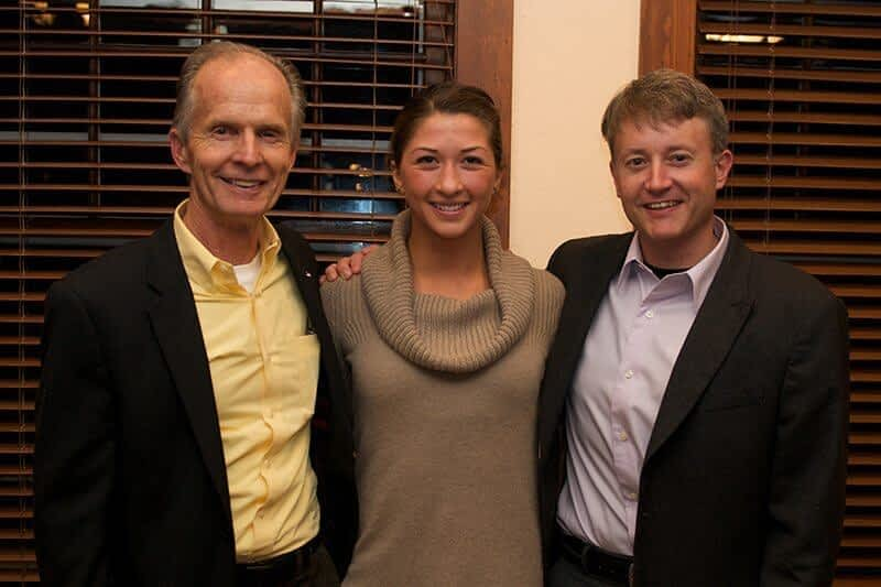 Crista Valentino, bookended by her two early - career mentors: WILD president Vance Martin, and previous Executive Director of the Murie Center, Jon Mobeck