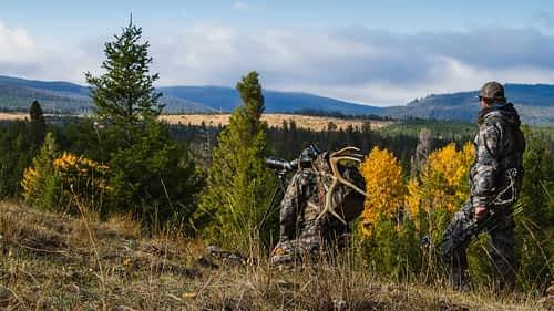 2 hunters on a mountain ridge in Wyoming