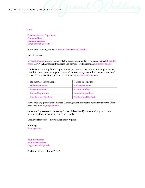 Name Change Form Letter