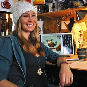 Author and artist Kelly Halpin in her studio. -courtesy photo