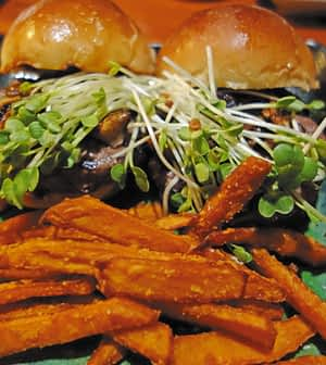 Asian-inspired sliders are paired with sweet potato fries Photo Geraldine Mishev