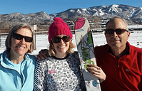 Photo cutline: Francklyn begins her return to skis on the flats at Steamboat Springs, Colo. with her father and mother, Reg and Barb Francklyn. Photo Reg Francklyn Photography